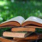 books on grass